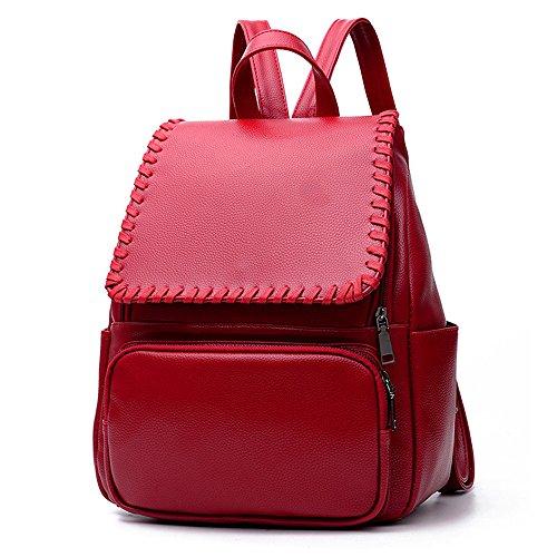 (JVP1035-B) mochila negro de cuero de LA PU de gran capacidad bolsa de viaje del bolso de las señoras bolsa hermosa bolso de hombro de 3 vías espalda moda popular escuela ligera suburbana Roja