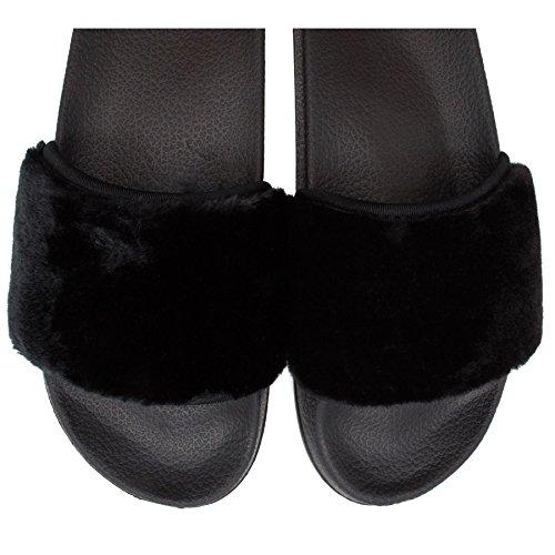 London Footwear Damen Hinten Offen Schwarz