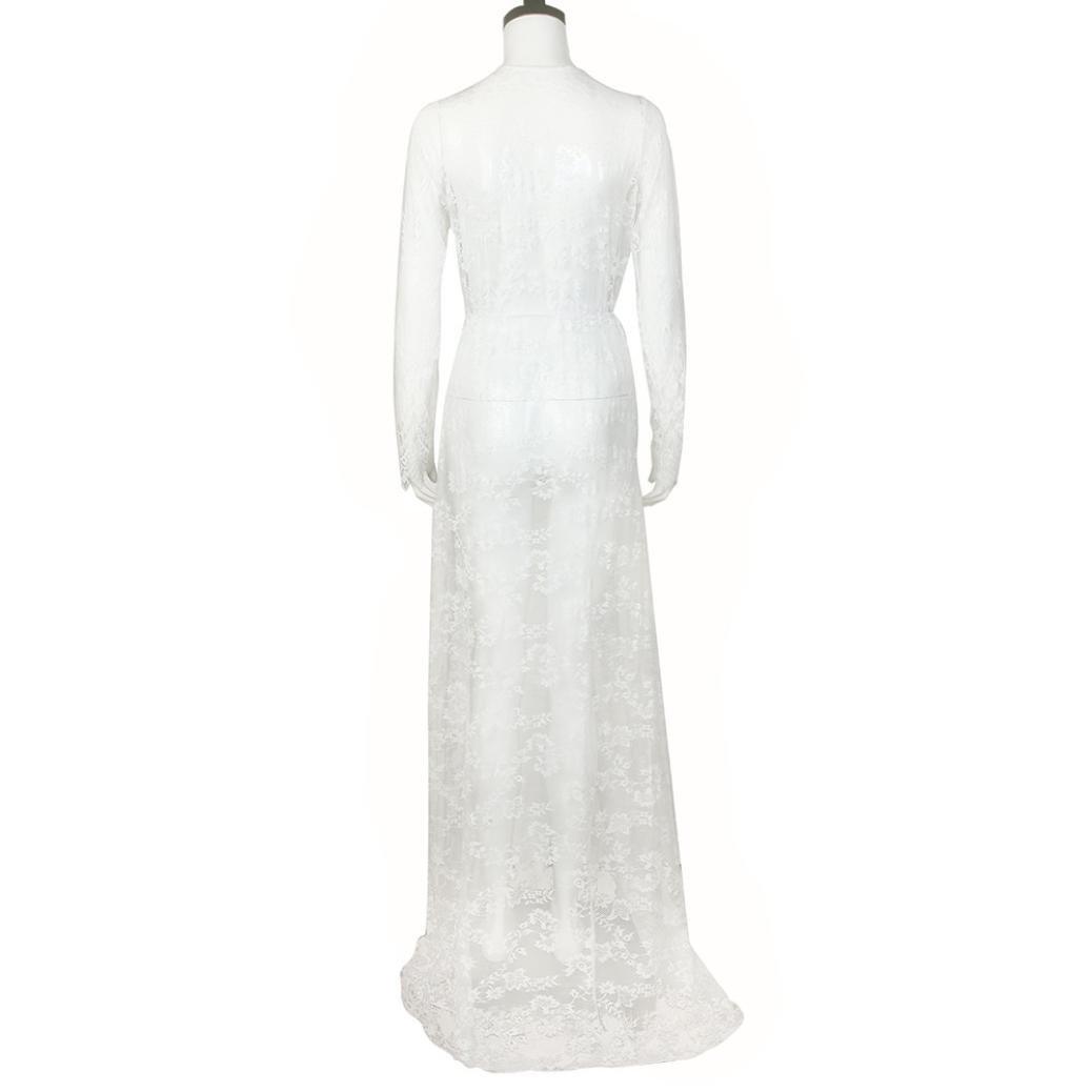 K-youth® Vestido de noche de encaje manga larga sexy mujer embarazada Vestido de maternidad Foto Shoot Dress Transparente Faldas Fotográficas de maternidad ...