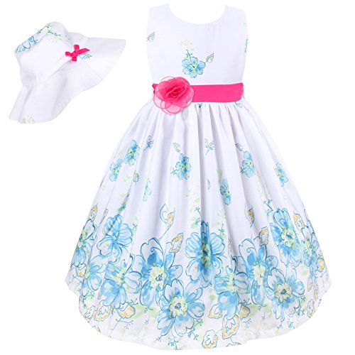 Mingao Flower Girl Dress 2 Pcs Rose Christmas Party with Hat 6 Years