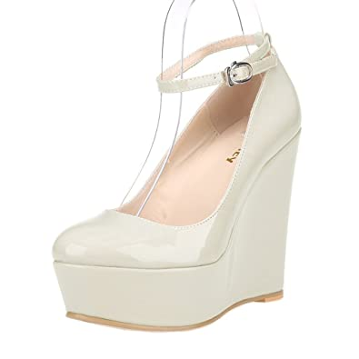 ZriEy Women s Sexy Platform Exclusive Wedges High Heels Pumps Party Casual  Shoes Patent Leather Beige White 1ea3d7e976af