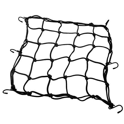 AIKE 15'15' Heavy-duty Motorcycle Helmet Cargo Net Luggage Mesh Bungee Net w/ 6 Hooks for Motorcycles ATVs (Black)