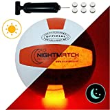 NightMatch Light Up Volleyball - INCL. BALL PUMP and SPARE BATTERIES - Inside LED lights up when kicked - Glow in the Dark Volleyball / Ballon de Volley-ball Lumineux - Official Size & Weight - white/orange