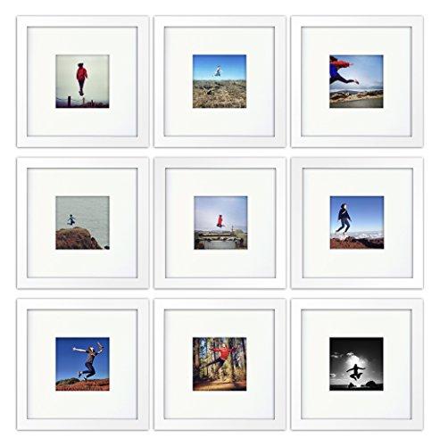 9-set, Tiny Mighty Frames - Wood, Square, Instagram, Photo Frame, 4x4 (Mat), 8x8 (9, White)
