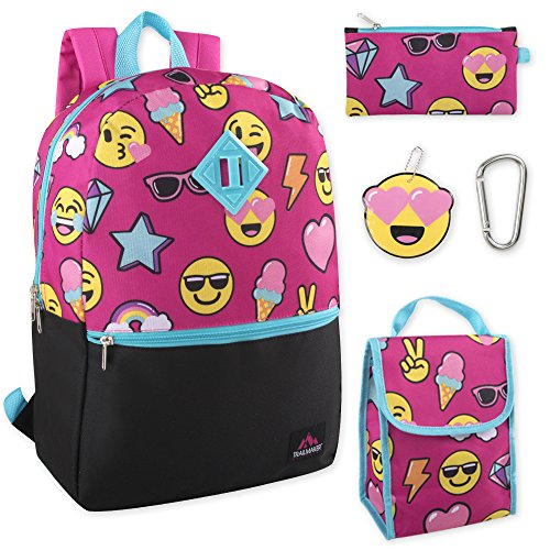 Lunch Smiles - Trailmaker 5 in 1 Full Size Character School Backpack and Lunch Bag Set For Girls (Smiles)