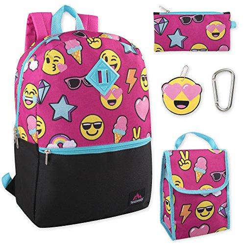 Girl's 5 in 1 Full Size Backpack Set (Smiles)