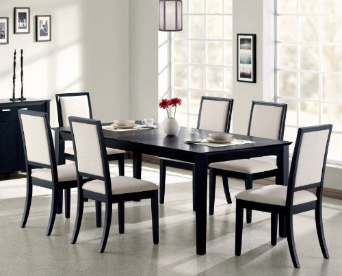 7pc Formal Dining Table & Chairs Set Distressed Black Finish