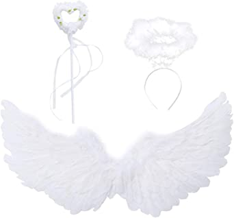 White Angel Wings and Halo Magic Wand Feather Wing Party Costume for Kids Girls Boys