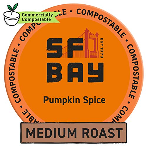 SF Bay Coffee Pumpkin Spice 12 Ct Flavored Medium Roast Compostable Coffee Pods, K Cup Compatible including Keurig 2.0 (Packaging May Vary)