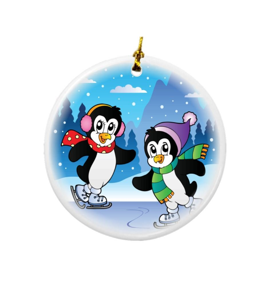 Rikki Knight Winter Scene with Skating Penguins Design Round Porcelain Two-Sided Christmas Ornaments