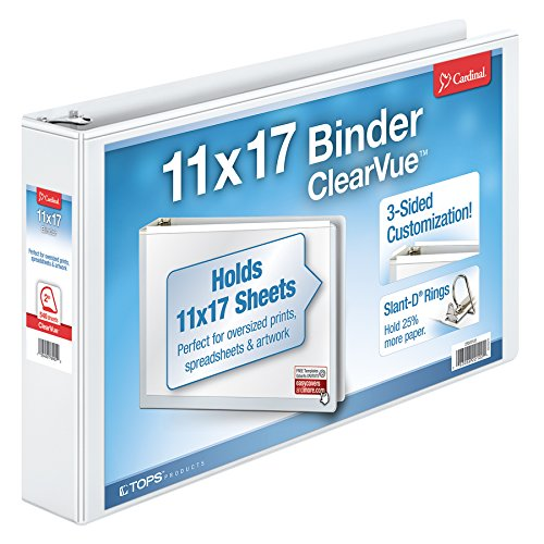 "Cardinal Tabloid ClearVue Slant-D Ring Binder, 2"" Capacity,"