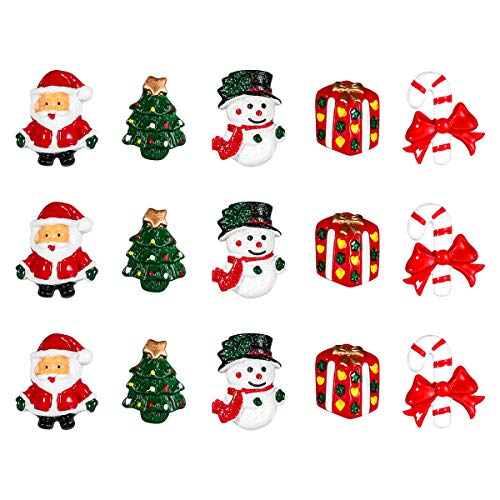 (15pcs Christmas Resin Snowman Santa Claus Christmas Tree Candy Cane Miniature Ornaments Home Decoration DIY Accessories)