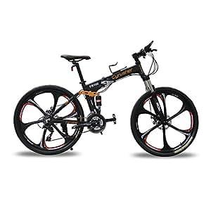 Cyrusher FR100 Folding Mountain Bike Black Full Suspension 24 Speeds Aluminum Frame 17x26 inch