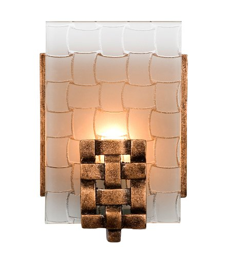 Price comparison product image Varaluz 180B01 Dreamweaver Collection Light Bath Light,  Blackened Copper Finish with Frosted Plate Glass Shade,  4-1 / 2-Inch by 6-3 / 4-Inch by 3-Inch