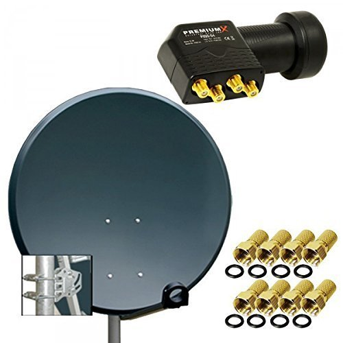 PremiumX Digital SAT Anlage 80 cm ALU Schüssel Spiegel Antenne Anthrazit + PremiumX Quad LNB PXQS-04 0,1dB für 4 Teilnehmer + 8 F-Stecker 7mm vergoldet
