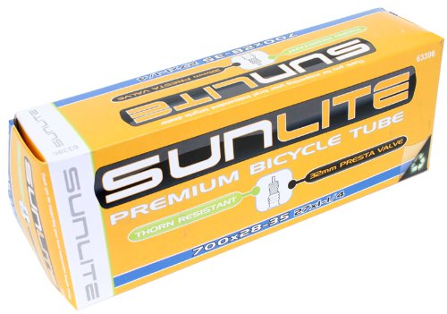 Sunlite Thorn Resistant Presta Valve Tubes, 700 x 28 - 35 (27 x 1.25'') / 48mm, Black