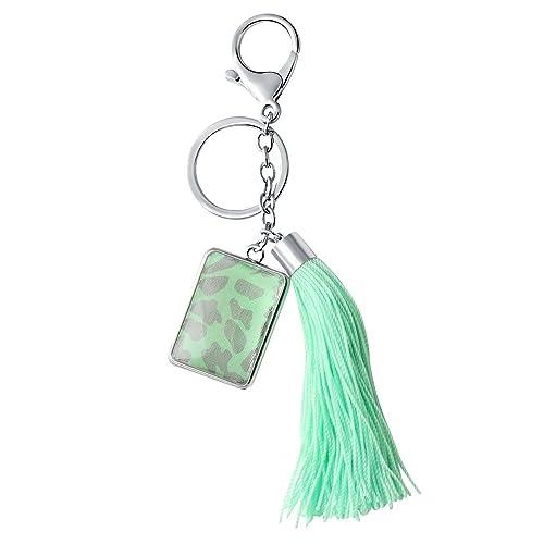 senfai Mujeres Joyería Llavero verde cuerda de nailon borla ...