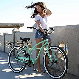 "sixthreezero Around The Block Women's Single Speed Cruiser Bicycle, Mint Green w/ Black Seat/Grips, 26"" Wheels/17"" Frame"