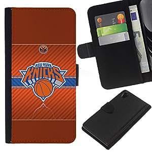 Stuss Case / Funda Carcasa PU de Cuero - Nueva York Knick Baloncesto - Sony Xperia Z2 D6502