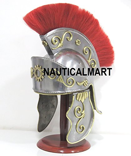 Medieval Greek Corinthian Helmet Red Plume Roman Knight Gallic Trojan Troy Standard Silver Red by NAUTICALMART