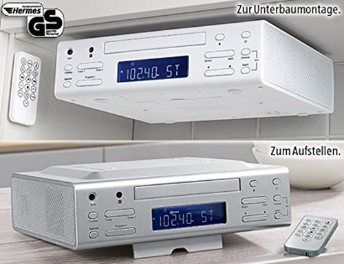 CD Küchenradio KCD 243 in weiss - Unterbaufähiges Stereo-Küchenradio, CD-Player, Alarmfunktion, Sleep-Timer, FM-AM Empfang mit PLL Tuner, 24 Std. programmierbar, LCD-Display
