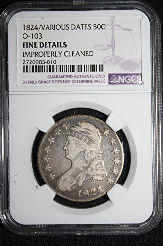 1824 Half Dollar 1829/Various Dates Capped Bust Half Dollar Over-date O-103 Half Dollar VF Details Cleaned NGC