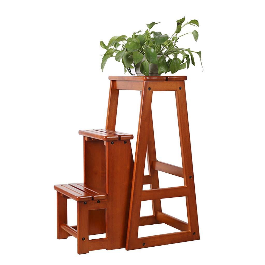 2層木製折りたたみステップスツールポータブル階段チェア家庭用ソリッドウッド花ラック/はしごスツール用キッズ/アダルト、120 kg容量ブラウン B07PB19WZY  High 64cm