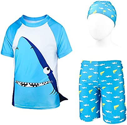 ZukoCert Boys Sunsuit Swimwear Sets Kids Long Sleeve 2 Piece Rash Guard Swimsuits 2-10 Years
