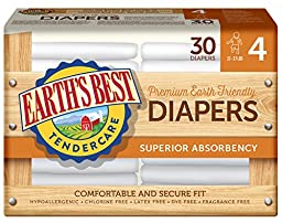 Earth\'s Best Chlorine-Free Diapers, Size 4, 120 Count