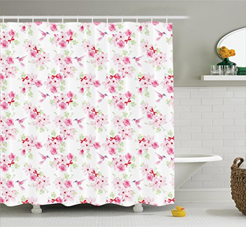 Ambesonne Hummingbirds Decorations Collection, Hummingbirds and Bunches with Magnolias Roses Pattern Floral Design, Polyester Fabric Bathroom Shower Curtain Set with Hooks, Pink Magenta (Magnolia Pattern)