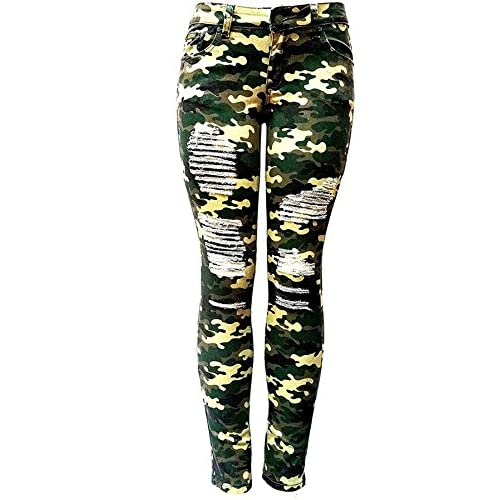 93300911d52 IQ WOMENS PLUS SIZE Stretch Distressed Ripped Camo Camouflage Skinny JEANS  PANTS delicate