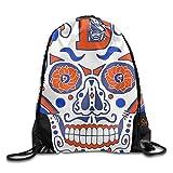 GGFUIS9 3D Print Denver Broncos Sugar Skull.png Shoulders Bag Women Fashion Backpack Girls Beam Port Drawstring Travel Shoes Dust Storage Bags