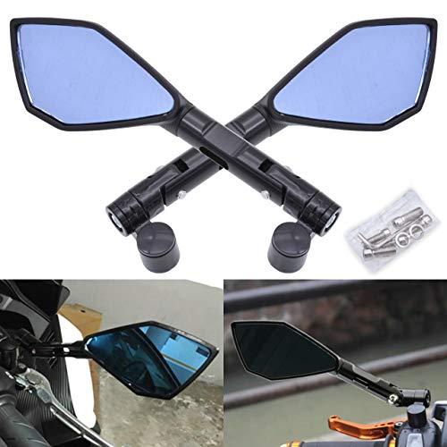 Blue Qiilu QL06136 Coppia 8mm 10mm Universale Moto Scooter Moto Specchietto retrovisore Specchietti retrovisori laterali