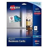 Tarjetas de visita magnéticas Avery 8374, 2 x 3 1/2, blanco, 10 tarjetas por hoja (paquete de 30 tarjetas)