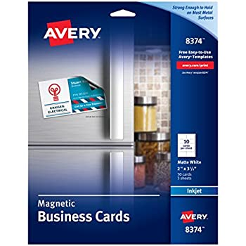 Amazon avery 8374 magnetic business cards 2 x 3 12 white avery 8374 magnetic business cards 2 x 3 12 white 10 colourmoves Choice Image