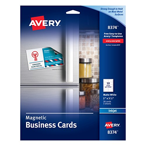 - Avery 8374 Magnetic Business Cards, 2 x 3 1/2, White, 10 Cards per Sheet (Pack of 30 Cards)