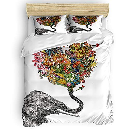 KAROLA Bedding Duvet Cover Set Ultra Soft 4 Piece with Zipper, Ties,Elephant and Heart Shaped Aztec Floral Personalized King Size, 92 by 106 inch ()