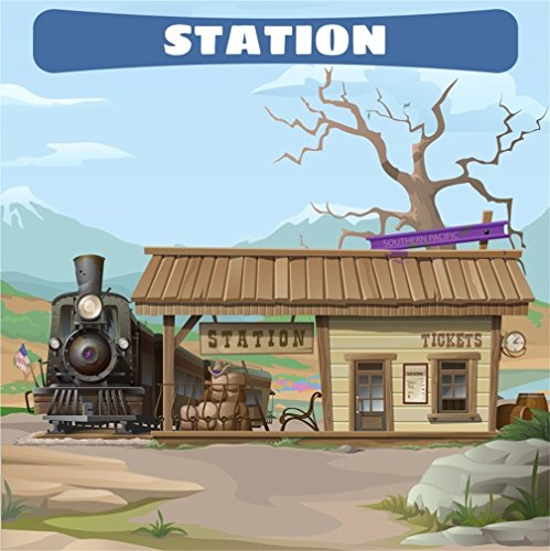 CSFOTO 7x7ft Background for Shabby Train Station Tickets Photography Backdrop Southern Pacific Desolate Station Train Party Cartoon Children Kid Baby Portrait Photo Studio Props Vinyl ()