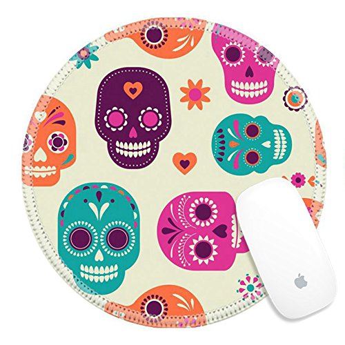 Luxlady Round Gaming Mousepad ID: 41835620 colorful skull cute pattern Mexican day of the -