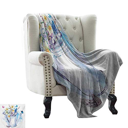 "Anyangeight Daffodil,Lightweight Blanket,Summer Bouquet with Violets Puss-Willows and Butterflies in Old Fashion Watering Can 70""x50"",Super Soft and Comfortable,Suitable for Sofas,Chairs,beds"
