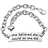 Angelus She believed she could so she did Inspirational Hand Stamped Cuff Metal Bracelet for Women Ladies Girls Silver