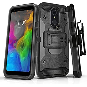 Phone Case for [LG Q7 Plus (T-Mobile, Metro PCS)], [Tank Series][Gun Metal]  Shockproof Defender Heavy Duty Cover with [Kickstand] & [Swivel Belt Clip