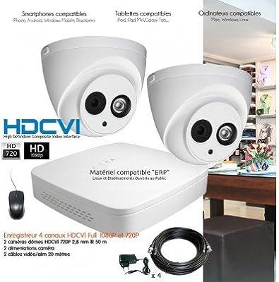 HD-CVI – Kit de video vigilancia HDCVI con 2 Cámaras cúpula – kit-d23 – 2 x 3319 – sin disco duro