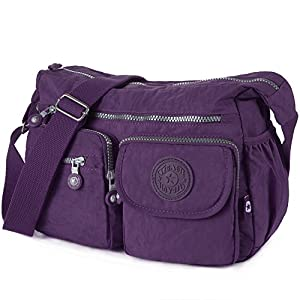 Crossbody Travel Bag Nylon Multi-pocket Shoulder Bag (938 Vivid violet)