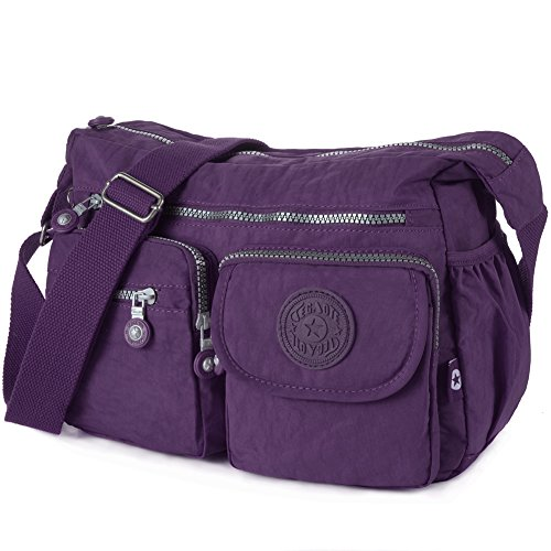 Nylon Crossbody Bag Multi-pocket Travel Shoulder Bag(938 Army green) 938 Vivid violet