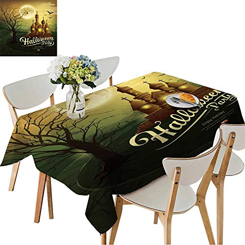 UHOO2018 Spillproof Fabric Tablecloth Happy Halloween Party Castles with Message,bat,Silhouette Tree,Moon Square/Rectangle Washable Polyester,52 x -