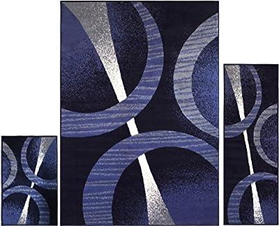 Home Dynamix 3 Piece Ultra Soft Ariana Rug | Rug, Runner & Scatter (Navy Blue)
