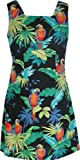 RJC Womens Jungle Parrot A Line Short Tank Dress in Black - 1X Plus