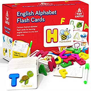 TOY CASTLE English Alphabet Flash Cards, Toddler Toys Toddler Learning and Preschool Activities Montessori Toys for Toddlers, ABC Wooden Letters, Sight Words Flash Cards Kindergarten