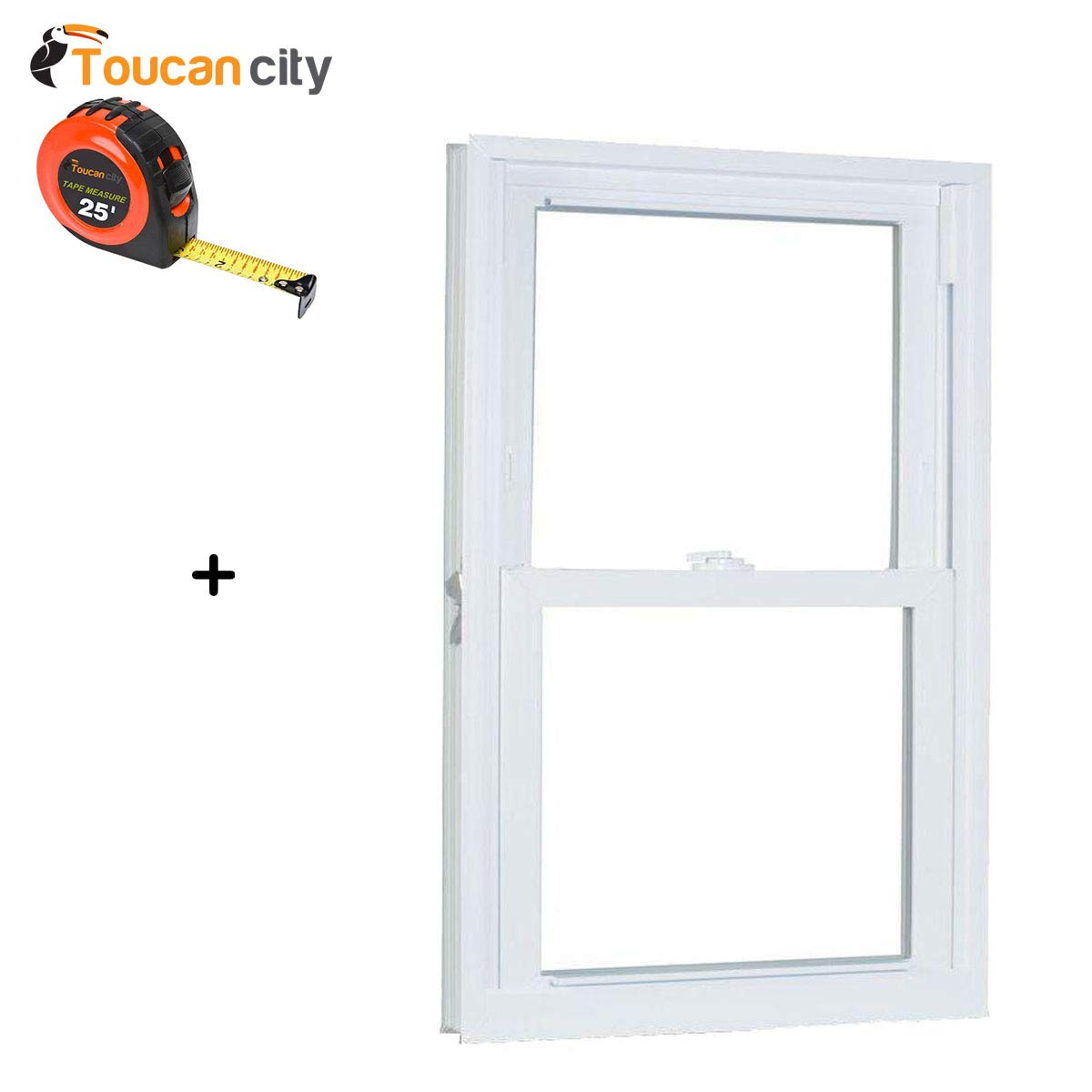Toucan City Tape Measure and American Craftsman 23.75 in. x 35.25 in. 70 Series Pro Double Hung White Vinyl Window with Buck Frame 2436786